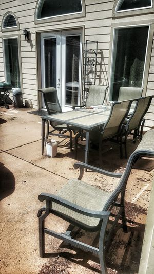 Just one more... Patio On The Patio Outside Parking House Yard Parked Cars Parked Reflection Yard Table And Chairs Chairs Table Wall Side Of House Windows Glass Doors Glass Doors Lawn Chair Outdoors Chair Parked Car Cars Backyard