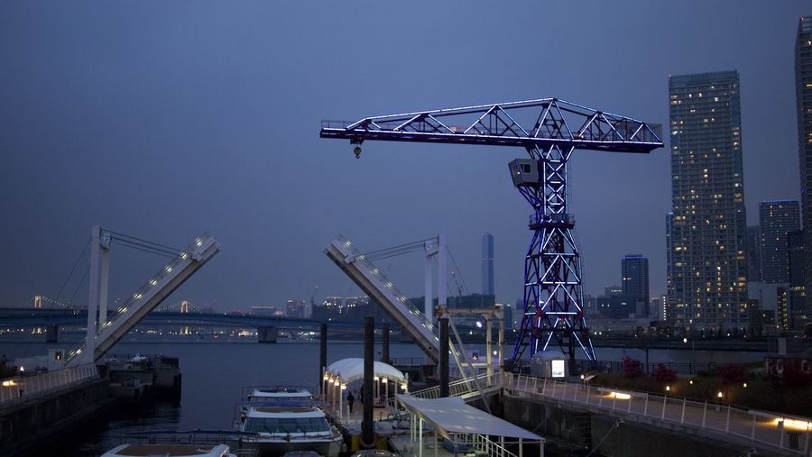 Architecture Machinery Built Structure Sky Crane - Construction Machinery Building Exterior Illuminated Industry Nature City No People Construction Industry Dusk Development Water Construction Site Clear Sky Tall - High Crane Harbor Outdoors Construction Equipment Skyscraper Office Building Exterior Toyosu Tokyo