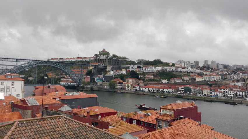 Perspectives from Porto. Architecture Built Structure Building Exterior Cloud - Sky Sky Water City Building Nautical Vessel Roof Nature Residential District Cityscape Transportation River Overcast No People Day Outdoors Rainy Days Nature City Cityscape Houses Arquitecture