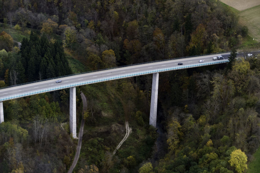 Aerial View Air Vehicle Autobahn Bridge Connection Day Forest Mountain Nature No People Outdoors Road Transportation Tree Valley