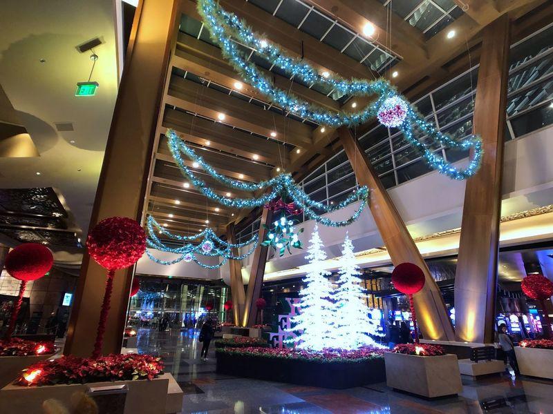 Aria Resort & Casino.  Ceiling Illuminated Indoors  Lighting Equipment Low Angle View Celebration Night Architecture Multi Colored
