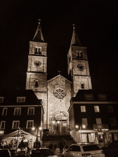 Church Schwelm Nightphotography BW_photography Bw_collection Architecture Built Structure Night Building Exterior Building Tower Low Angle View City Clock Tower Religion