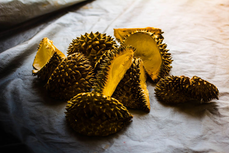 High angle view of durian on table