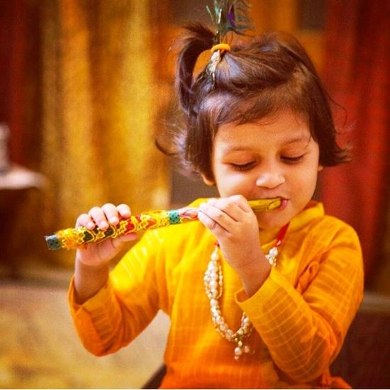 Littlekyra Kyra Janamastmi Lord Krishna Birthday Flute India August28inc Rajeevkumar