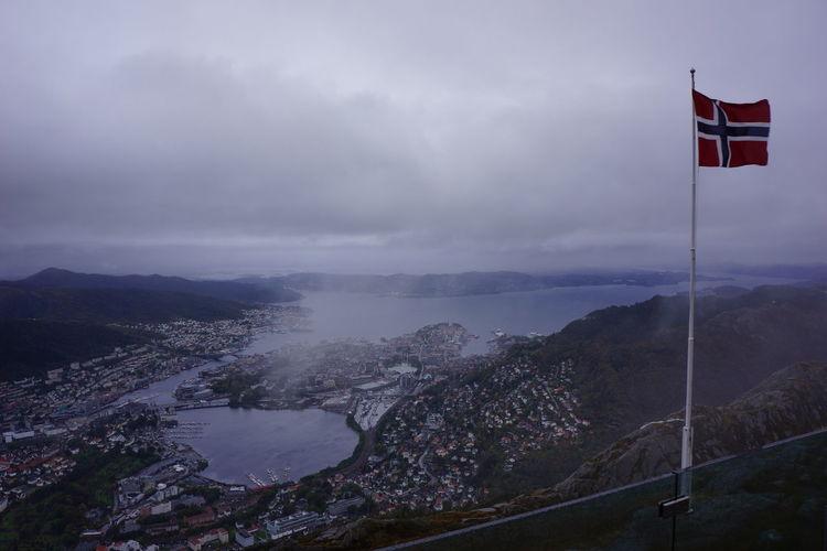 Bergen,Norway Cloud - Sky Day Fjord Flag Mountain Nature No People Norway Outdoors Scenics Sky Ulriken643