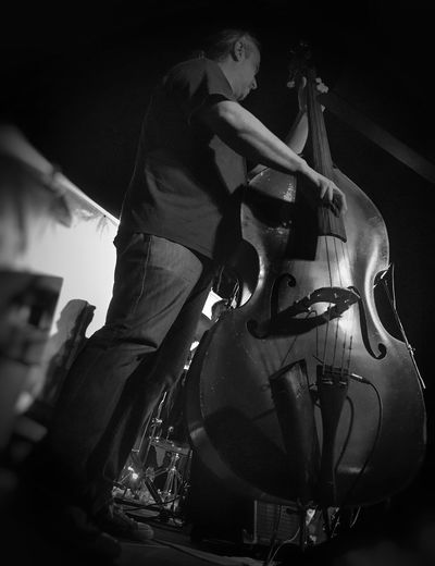 The two giants Double Bass Musical Instrument Music Musician Arts Culture And Entertainment Performance Real People Blues And Jazz Stage - Performance Space Playing Black And White