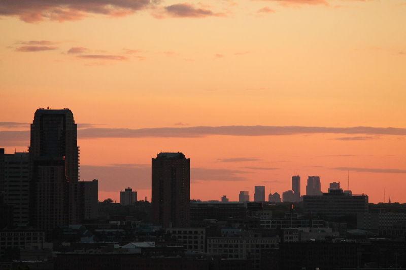 Building Built Structure City Cityscape Cloud Minneapolis Minneapolis Minnesota No People Orange Color Silhouette Sky Skyline Skyline Skyscraper Sunset Urban Skyline