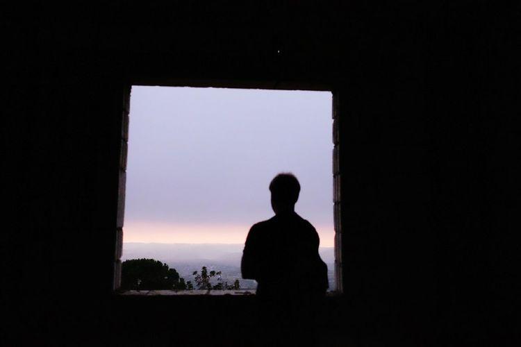 Silhouette Indoors  Window Men Standing Dark Sky Nature Solitude Tranquil Scene