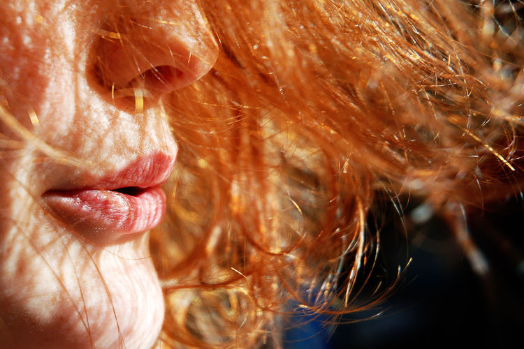 Cropped image of woman blowing hair