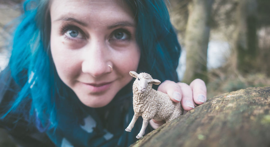 2017, Julie Gatto Animal Themes Day Forest Julie Gatto Lifestyles Looking At Camera Nature One Animal One Person Outdoors Real People Sheep Young Adult Young Women