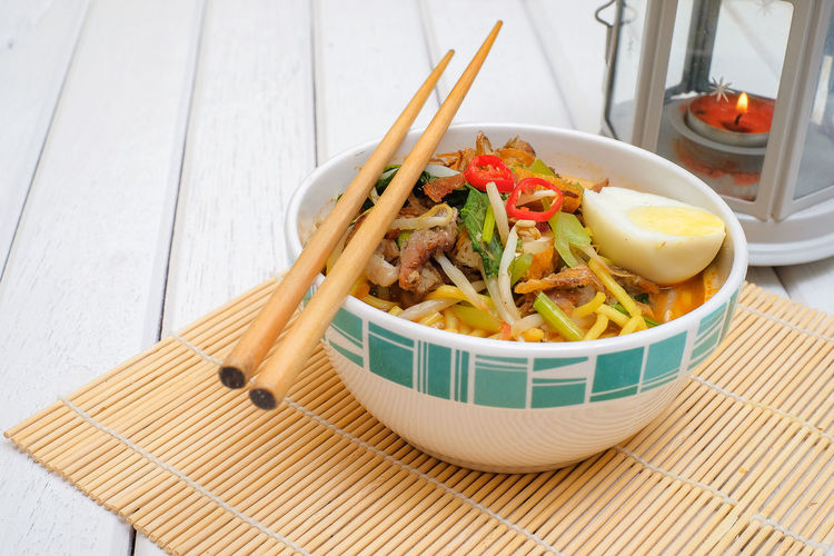 High angle view of food served in bowl