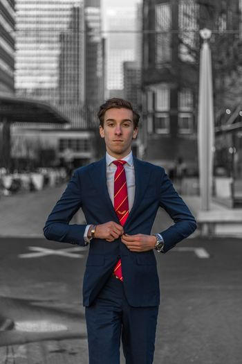 Portrait of businessman on street
