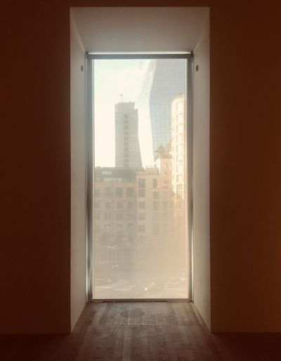 Buildings seen through home window