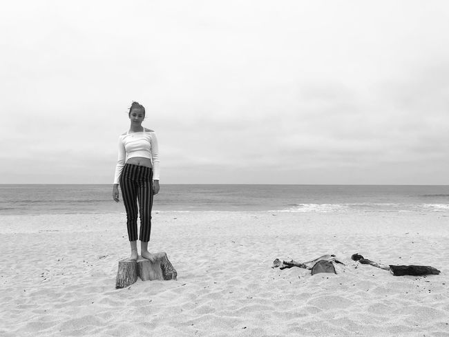 California Mood Model Montera HalfMoonBay EyeEm Best Shots Blackandwhite Pacific Coast Sea Water Sky Horizon Over Water Horizon Rear View Land Beach Real People Beauty In Nature One Person Standing Sand The Portraitist - 2018 EyeEm Awards The Great Outdoors - 2018 EyeEm Awards