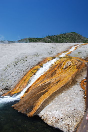 Beauty In Nature Clear Sky Day Geology Hot Springs Landscape Mineral Deposits Nature Nature Reserve No People Outdoors Rust Sand Sky Sulphur Spring Sunny Travel Destinations Vacations Yellowstone National Park