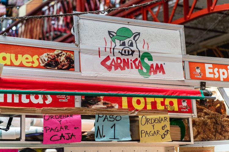 Information sign on market stall