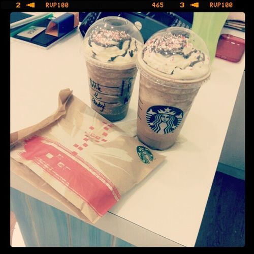 Peppermint Mocha Frappuccino And Ozzie Sausage Roll😍😍😘😚 Sausageroll Starbucks Peppermint Mocha Frappuccino