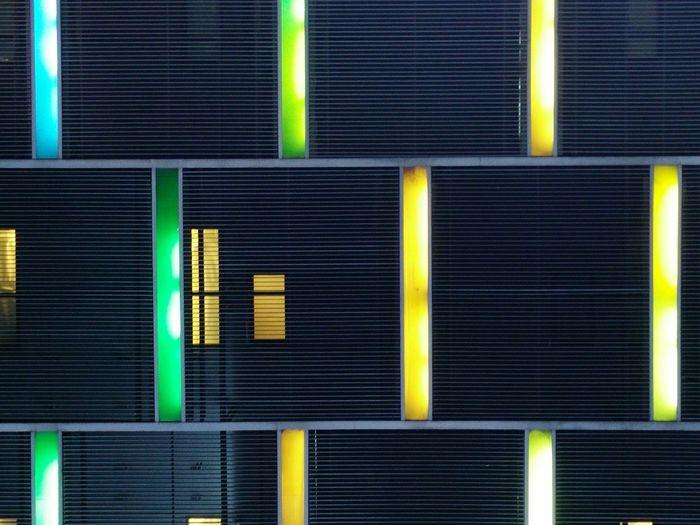 View Light Lines LED Window Building Night Black Shadow