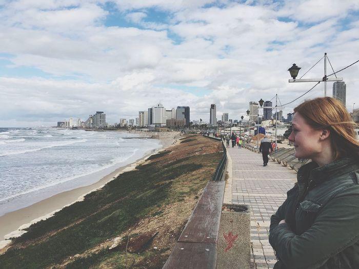 Windy beach walk
