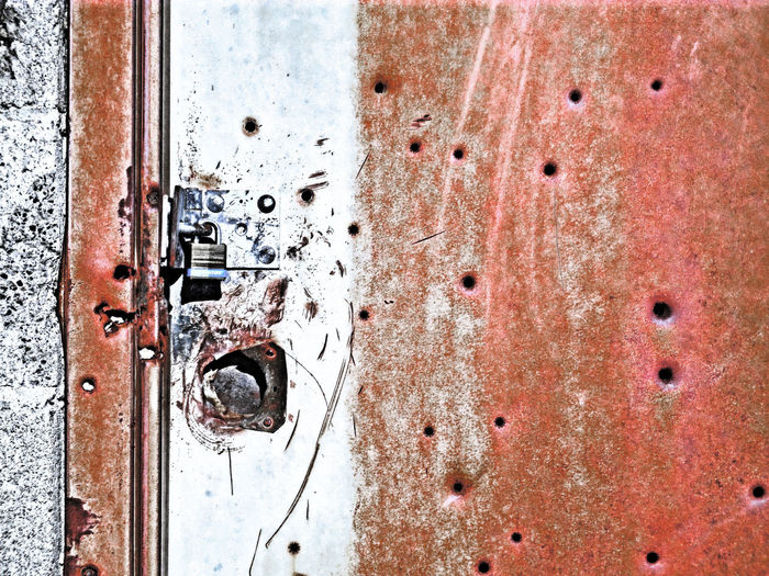 Abandoned Bad Condition Badlands Bullet Bulletholes Damaged Detail Deterioration Door Geometry Gun Metal No People Obsolete Old Pattern Rusty Shooting Shot Textured  Wall Worland Worland WY Wyoming