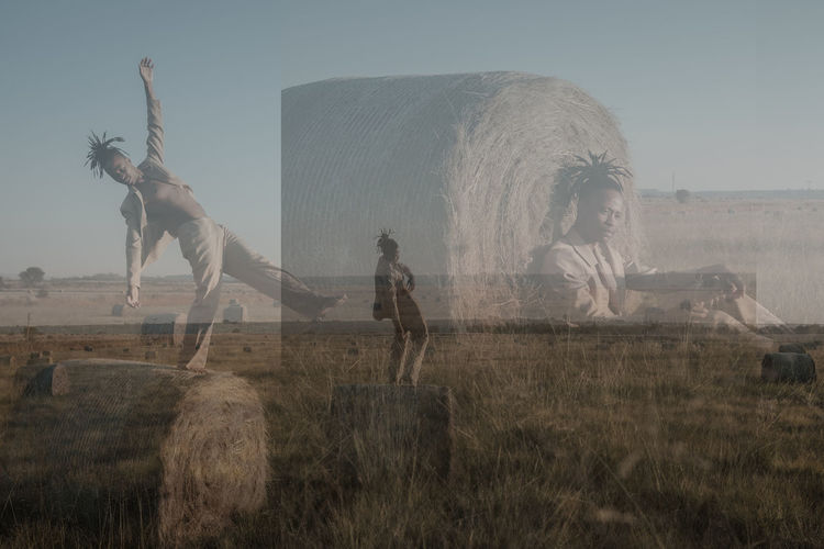 Multiple exposure of man at farm against sky