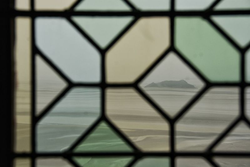 Little island through through the window. About To Rain Abstract Cloudy Sky Decor Design Detail Foggy Day Frames Glass Interior Design Island Metal Pattern Repetition Shape Stained Glass Stained Glass Window Textured  Window Window Glass