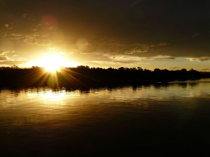 Beauty In Nature Cloud Cloud - Sky Idyllic Lake Lakeshore Lens Flare Nature No People Non-urban Scene Orange Color Outdoors Reflection Rippled Scenics Sky Sun Sunbeam Sunlight Sunset Tranquil Scene Tranquility Tuross Lake Water