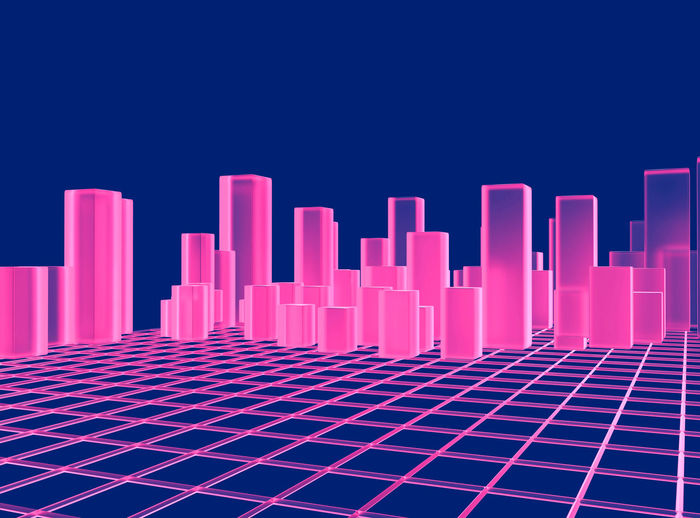 Digital Composite Image Of Pink Graph Against Blue Background