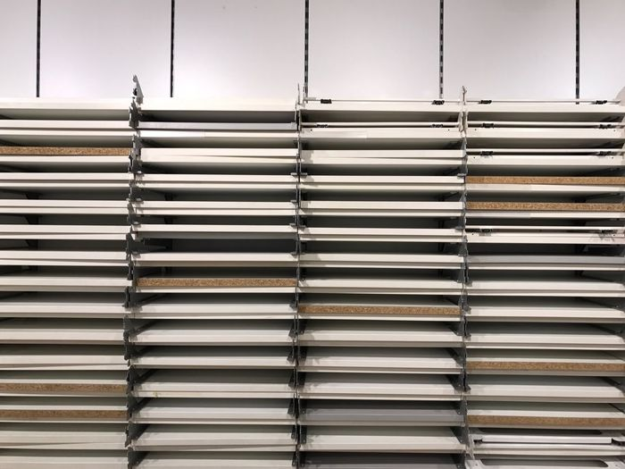 Close-Up Of Empty Shelves At Store