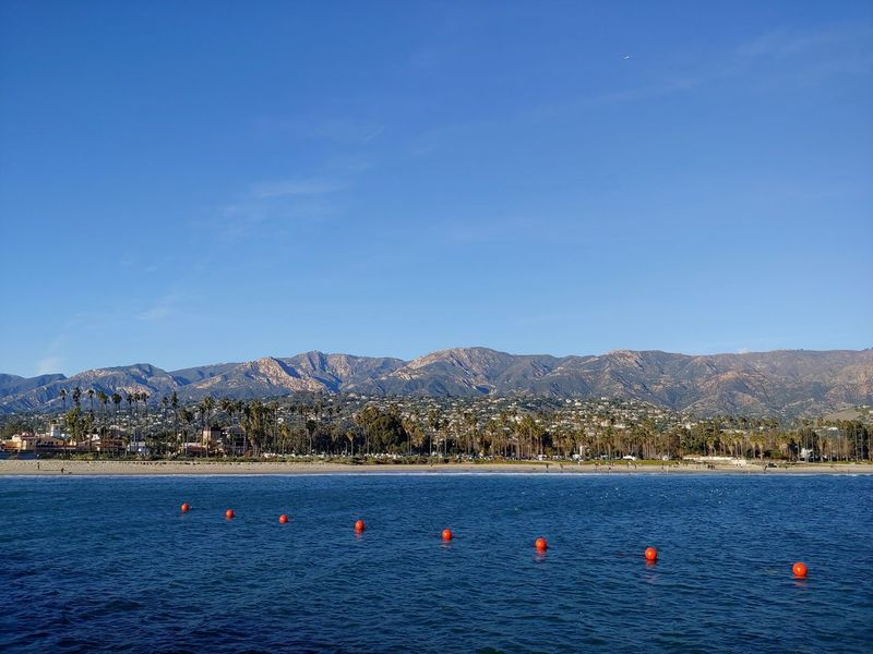 a string of buoys makes a line toward the beach in Santa Barbara, CA Vacation Travel Santa Barbara, CA Shoreline Southern California SoCal Palm Trees Copy Space Objects In A Row Buoys City By The Sea Shades Of Blue Summer Feeling Mountain Blue Water City Sky Horizon Over Water Clear Sky Waterfront