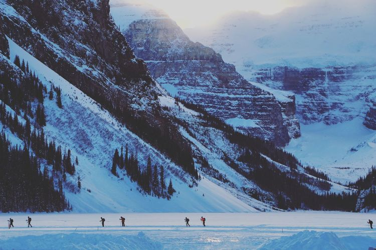 Skiers trekking across Lake Louise. Lake Louise  First Eyeem Photo Showcase: February Photography Photo Nature Helloworld Enjoyinglife  That  Landscape Road
