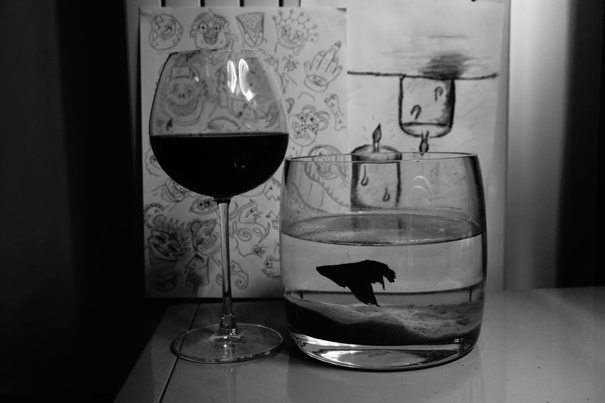 Wine Moments Fish Wine Blackandwhite