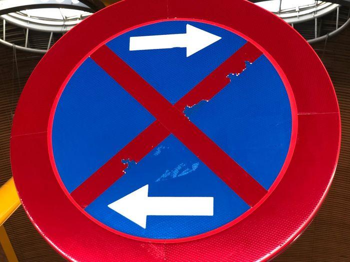 Close-up of road warning sign