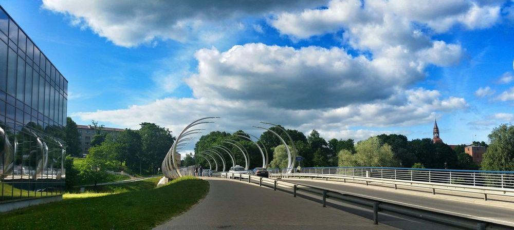 Small City Valmiera Bridge Clouds Hello World Enjoying Life