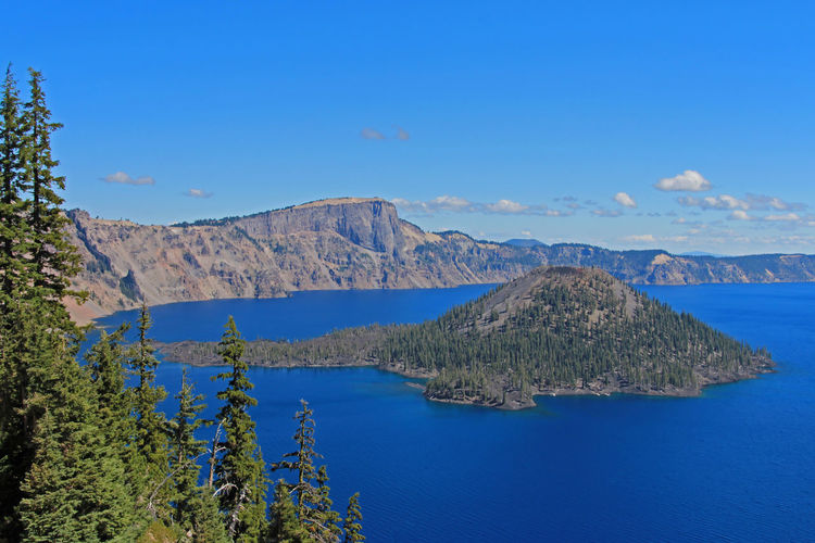 Landscape in Crater Lake National Park, Oregon, USA Crater Crater Lake Crater Lake National Park Oregon Volcano Volcanic Landscape Volcanic Crater Landscape Water Blue Nature Island Sky Beautiful Deep Watchman Watchman Point Peak Forest Scenics USA United States Scenics - Nature Mountain Tree