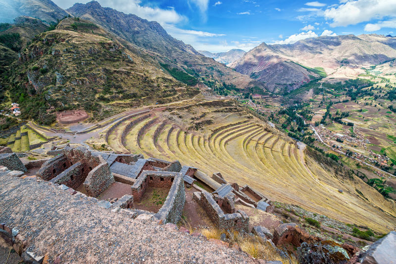 Ruins and terraces at Pisac in the Sacred Valley near Cusco, Peru Ancient Andes Cusco Destination Famous Inca Landmark Landscape Lost Mountain Outdoors Peru Pisac Pisac Perú Ruin Ruins Sacred Valley Sacred Valley - Peru Stone Terrace Tourism Trail Travel Urubamba Valley