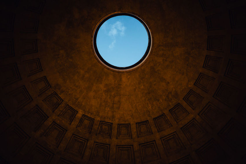 From My Point Of View Historical Monuments Pantheon Architecture Blue Sky Built Structure Circle Cupola Day Directly Below Famous Place Geometric Shape History Indoors  Low Angle View Minimalism Monument No People Pantheon Dome Shapes And Forms Simetry Sky Travel Destinations