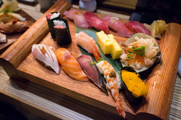 Close-up of japanese food served on table