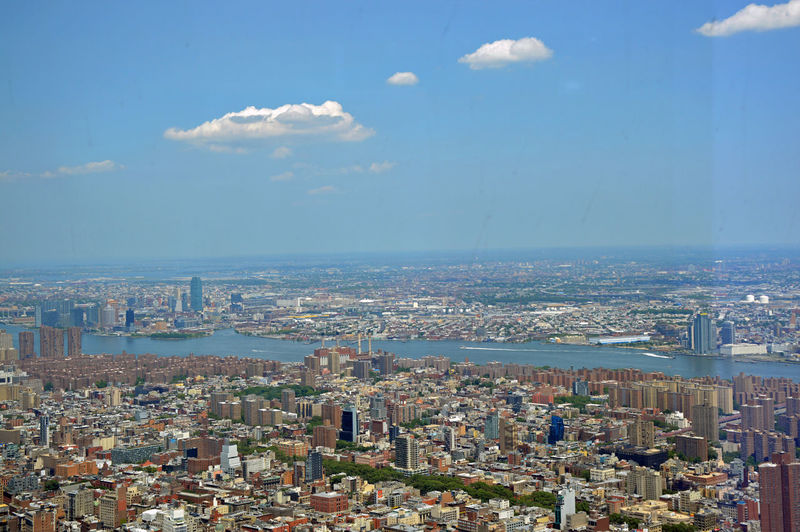 Aerial View Being A Tourist Blue Cityscape On Top Of The World One World Observatory Sky Over NYC Visiting The Big Apple