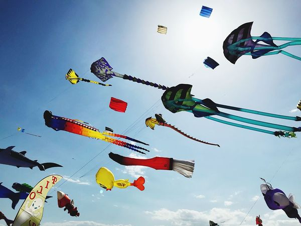 Sky Low Angle View Hanging Nature Arts Culture And Entertainment Multi Colored Amusement Park