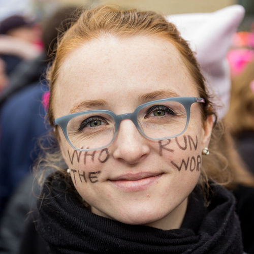Women's March on Washington DC, 2017 Adult Beautiful Woman Close-up Day Democracy Eyeglasses  Focus On Foreground Front View Headshot Looking At Camera One Person One Young Woman Only Outdoors Patriotism People Portrait Protest Real People Red Hair Text Women's March On Washington Womensmarch Womensmarchdc2017 Young Adult Young Women