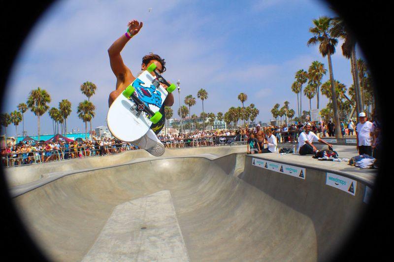 People on skateboard park