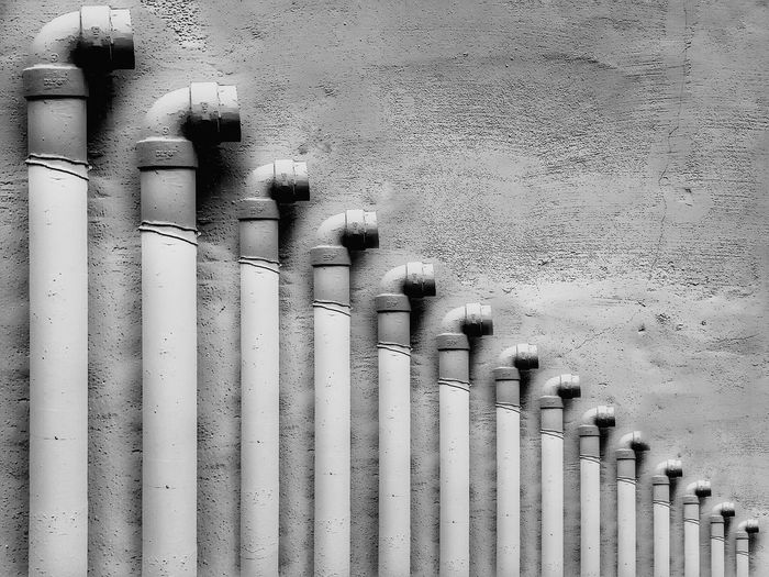 Water Pipe Wall Art Cement Wall Phuket,Thailand Black And White