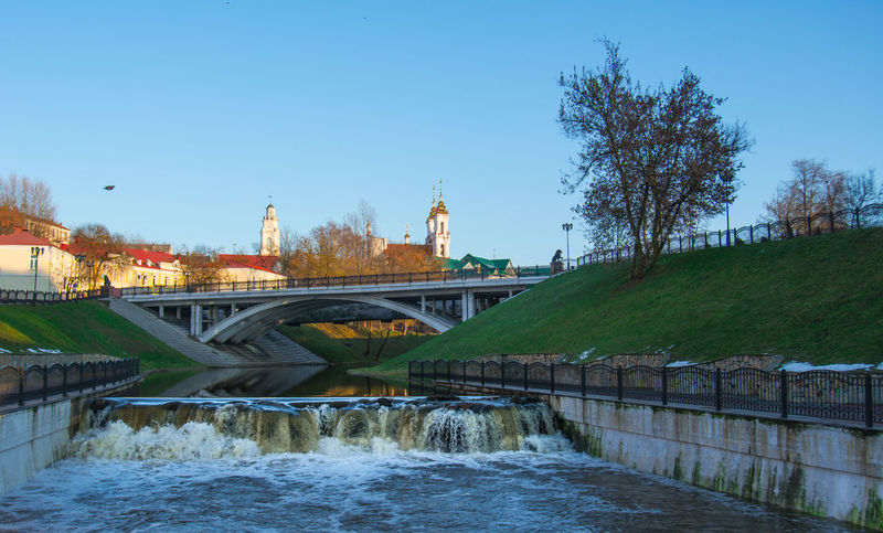 From My Point Of View By Ivan Maximov Eyeem Photo The Week On EyeEm Landscape Cityscape Belarus City Vitebsk,Belarus Great Outdoors Traveling Composition Bridge Holidays Water Bridge - Man Made Structure Sky Outdoors Architecture Blue No People Day Tree City Nature