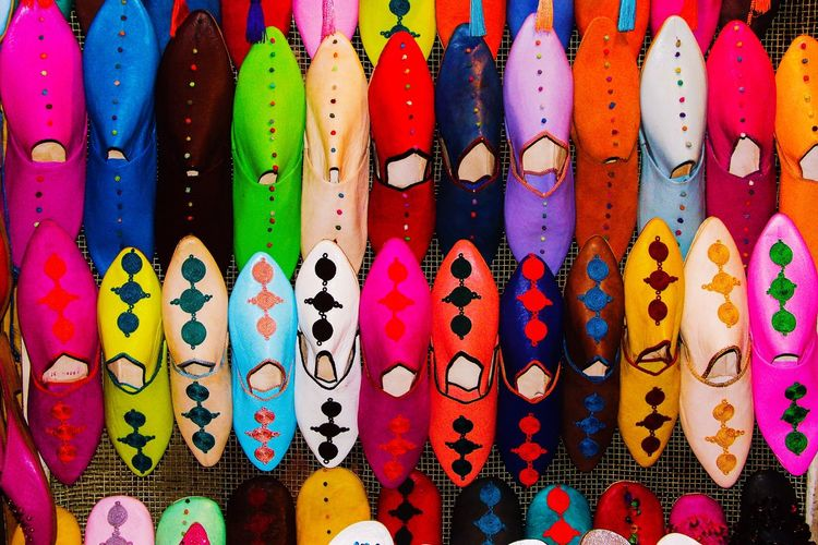 Babouches souk Marrakech colors Multi Colored Abundance Full Frame Pattern Variation Close-up Backgrounds No People Indoors  Day