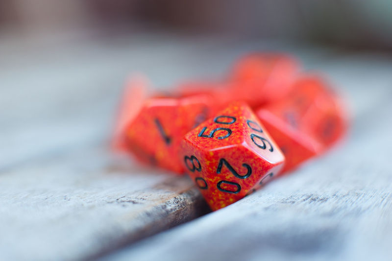Red roll playing dice Close-up Dice Different Many No People Number Red Role Play Selective Focus