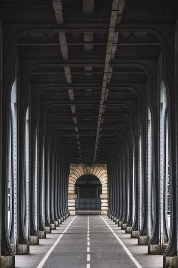 Cityscape of the perspective of the famous bir hakeim bridge in paris