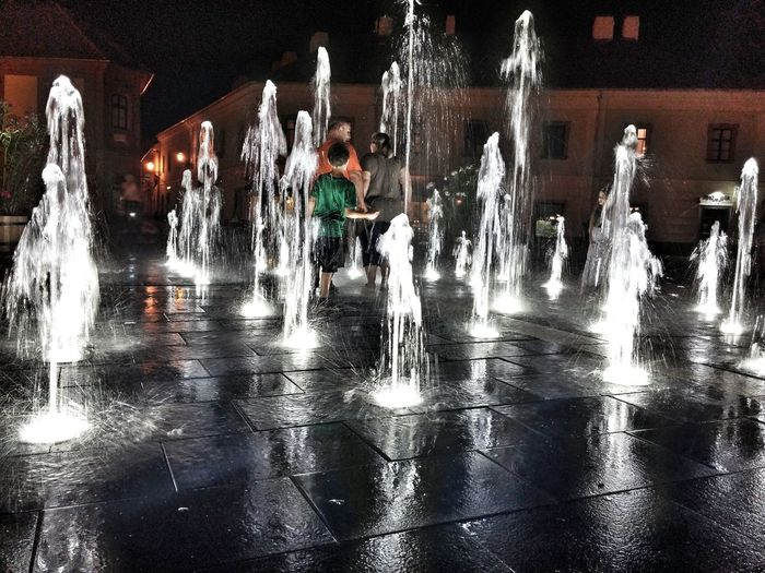 Eger, Hungary Eger Nighlife Fountain Mobilephotography Children Light And Shadow Life