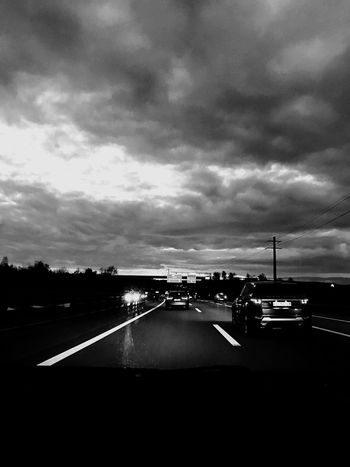 Transportation Sky Mode Of Transport Cloud - Sky Car Road No People Storm Cloud Nature Outdoors Dusk Colours Blackandwhite Welcome To Black