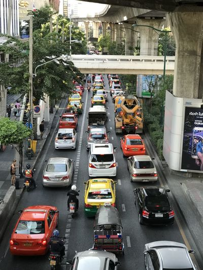 Rush hour traffic seen from the Nana BTS Station overpass in Bangkok Sukhumvit. Car City City Street High Angle View Motion No People Rush Hour Traffic Transportation First Eyeem Photo